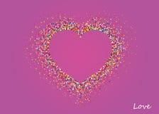 以心脏的形式多彩多姿的彩虹五彩纸屑 向量 库存照片