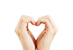 以心脏的形式女性手 免版税库存图片