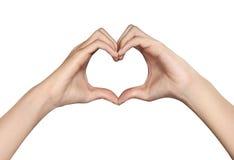 以心脏的形式女性手 免版税库存照片