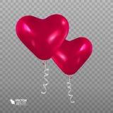 以心脏的形式现实气球 免版税库存照片