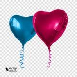 以心脏的形式现实红色和蓝色气球 免版税库存图片