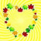 以心脏的形式秋季框架 与空间的典雅的设计您的文本的 库存例证