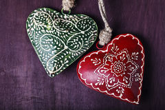 以心脏的形式装饰纪念品 库存照片