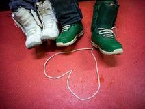 心脏的标志从鞋带的 库存照片