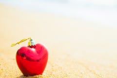 心脏的浪漫标志在海滩的 库存图片