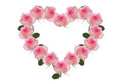 心脏的淡粉红色花 免版税库存图片