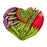 心脏的食物 免版税库存图片