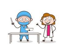 心脏科医师外科医生的动画片女性医生Introducing 皇族释放例证
