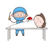 心脏科医师显示耐心死由于心力衰竭传染媒介概念 库存例证
