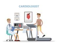 心脏科医师检查供以人员心脏 医生检查的患者 库存例证