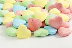 心脏糖果华伦泰背景在白色背景中 图库摄影