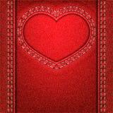 心脏红色牛仔布 免版税库存图片