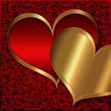 心脏红色金收藏 免版税库存图片