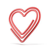 心脏纸夹 免版税库存照片