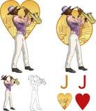 心脏美国黑人的音乐家黑手党卡片的杰克 免版税库存图片