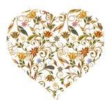 心脏背景与花卉样式的 向量例证