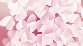 心脏背景为情人节 与上升在情人节假日的白色心脏纸3D的生气蓬勃的背景 回报  股票视频