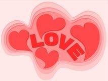 心脏背景设计为情人节 爱的传染媒介标志在心脏形状的  纸裁减和工艺样式淡色背景 皇族释放例证