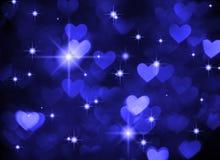 心脏背景boke照片,深蓝颜色 抽象假日、庆祝和华伦泰背景 库存照片