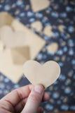 心脏蓝色花卉背景,拿着心脏的手 库存照片