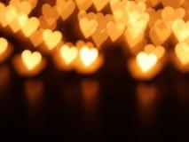 心脏蜡烛bokeh 库存照片