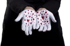 心脏被绘的手 免版税库存照片