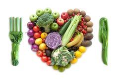 心脏象和利器由食物制成 免版税库存图片