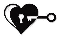 心脏锁和钥匙 免版税库存图片