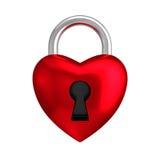 心脏锁被隔绝的白色背景 库存图片