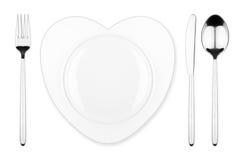 心脏餐位餐具 免版税库存图片