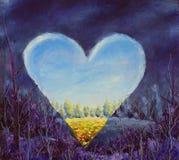 心脏,在帆布的春天心脏 开放的重点 刀子艺术 免版税库存图片