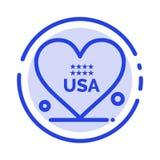 心脏,爱,美国人,美国蓝色虚线线象 库存例证