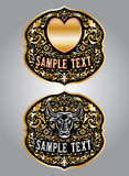 心脏-公牛-牛仔皮带扣传染媒介设计 免版税库存图片