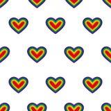 心脏 向量 无缝的模式 在白色背景的彩虹心脏 重复墙纸 库存图片