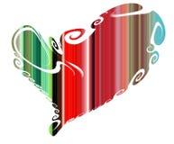 心脏 在嬉戏的红色绿色形状的五颜六色的被隔绝的心脏 库存图片