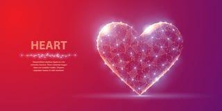 心脏 在红色和紫罗兰色背景的抽象多角形wireframe心脏与小点和星 免版税图库摄影