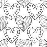 心脏 彩图的黑白装饰无缝的样式 浪漫,可爱的背景 免版税库存图片