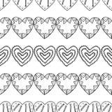 心脏 彩图的黑白装饰无缝的样式 浪漫,可爱的背景 库存图片