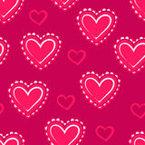 心脏 桃红色无缝的样式为华伦泰` s天 免版税库存照片