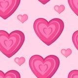 心脏 模式桃红色无缝 库存照片