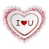 心脏贴纸、形状从纸的与红色框架和五彩纸屑,闪闪发光和在上写字我爱你在白色背景 图库摄影