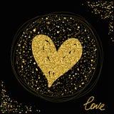 心脏 金子闪烁纹理 爱人现出轮廓主题妇女 免版税库存照片