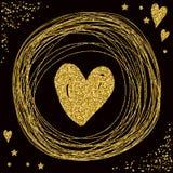 心脏 金子闪烁纹理 爱人现出轮廓主题妇女 库存照片