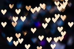 心脏bokeh -情人节背景 库存照片