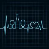 心跳做酒杯、瓶和心脏symb 皇族释放例证