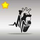 心跳心脏黑色象按钮商标优质标志的概念 免版税库存照片