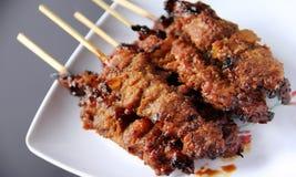 心满意足Ayam,印度尼西亚kebab 免版税库存照片