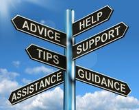 忠告帮助技术支持和技巧路标 库存照片