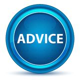 忠告眼珠蓝色圆的按钮 向量例证