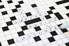 忠告纵横填字谜客户帮助服务支持 免版税库存图片